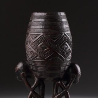 Democratic Republic of Congo Wongo Kuba Peoples Wooden Palm Wine Cup