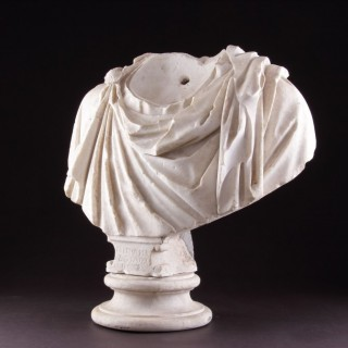 Ancient Roman Marble Shoulders from a Portrait Bust of a Man Dressed in an Imperial Toga