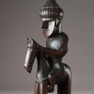 Rare Carved Cedar-Wood Equestrian Deified Ancestor Figure from Kafiristan North Eastern Afghanistan once known as the 'Hindu Kush'