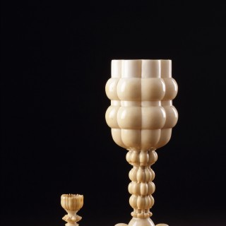 Fine and Elaborate Large South German Turned Ivory Cup and Cover
