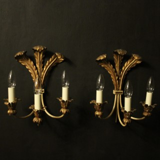 French Pair Of Toleware Twin Arm Wall Lights