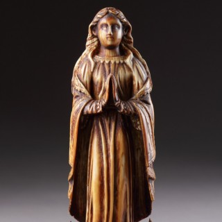 Indo-Portuguese Goa Carved Ivory of the Virgin Mary Standing Upon a Crescent Moon