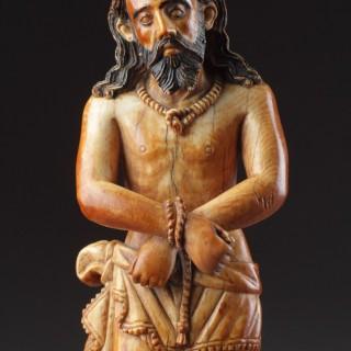 Indo-Portuguese Goa Carved and Polychromed Ivory Figure of 'Ecce Homo'