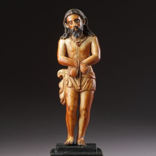 Indo-Portuguese Goa Carved and Polychromed Ivory Figure of 'Ecce Homo'