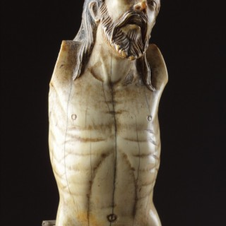 Indo-Portuguese Goa Carved Ivory Corpus Christi 'Christo Vivo' with Long Flowing Hair