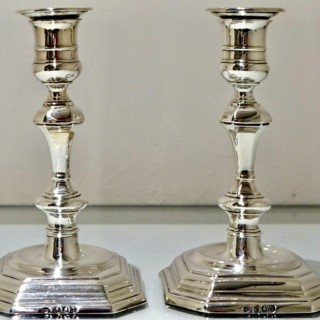 19th Century Antique Victorian Britannia Silver Pair Candlesticks London 1894 Thomas Bradbury