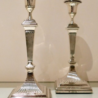 19th Century Antique Victorian Sterling Silver Pair Candlesticks London 1887 Edward Hutton