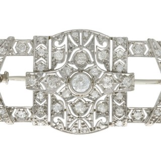 1.78ct Diamond and Platinum Brooch - Art Deco - Antique Circa 1930