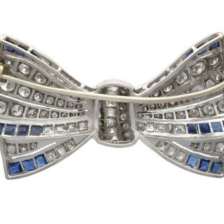 0.92ct Sapphire and 3.10ct Diamond, 18ct White Gold Bow Brooch - Antique Circa 1930