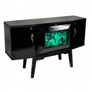 AN ITALIAN MID CENTURY BLACK LACQUERED CREDENZA WITH BAR