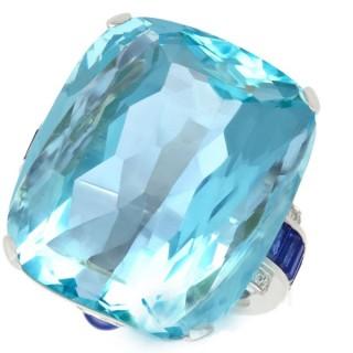 65.61ct Aquamarine, 3.46ct Sapphire and 0.28ct Diamond Platinum Cocktail Ring - Vintage Circa 1990