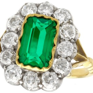2 ct Colombian Emerald and 2.2 ct Diamond, 18 ct Yellow Gold Dress Ring - Antique Circa 1890