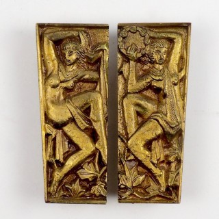 Pair of French Bronze Handles Decorated with Dancing Nymphs 1930s