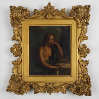 After Il Guercino. The Penitent Mary Magdalene. Frame by Gabranati 18th Century