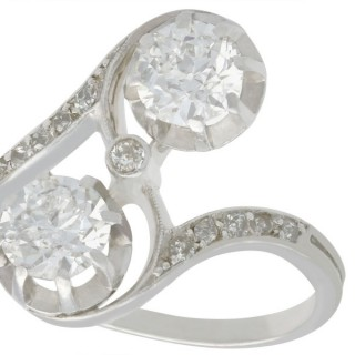 1.46ct Diamond and Platinum Twist Ring - Antique Circa 1925
