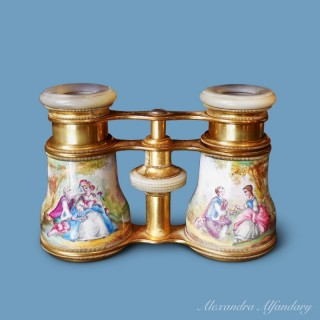 A Pair of Good Enamel and Gilt Brass Opera Glasses