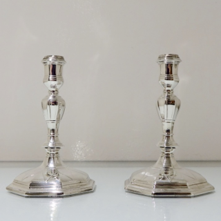 Antique George I Britannia Silver Pair Candlesticks London 1714 Michael Boult