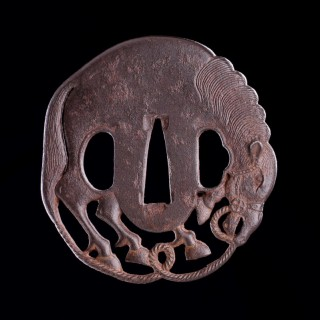 Japanese Openwork Bushi Tsuba an Iron Sword Guard Depicting a Bridled Horse with Finely Worked Mane and Tail