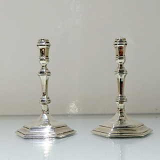 Antique George I Britannia Silver Pair Tapersticks London 1716 Matthew Cooper  I