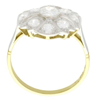 1.42ct Diamond and 18ct Yellow Gold Dress Ring - Art Deco - Antique Circa 1925