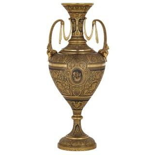 Spanish damascened iron vase with gold inlay