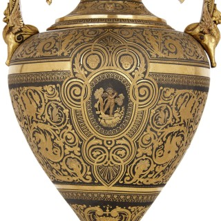 Spanish damascened iron vase with gold inlay