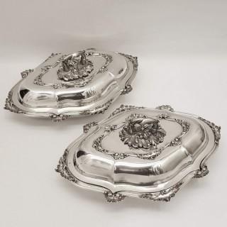 Pair of Antique Silver Entrée Dishes