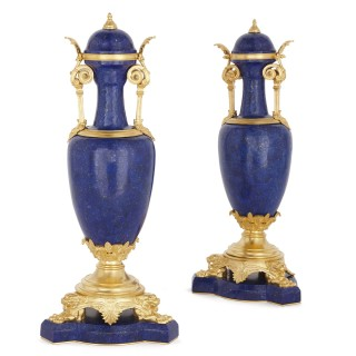 Pair of Neoclassical style lapis and gilt bronze vases by Ferdinand Barbedienne
