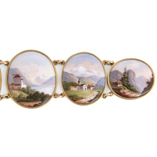 Gold bracelet with painted enamel plaques portraying the Alps