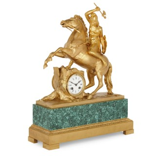 Gilt bronze and malachite Neoclassical mantel clock