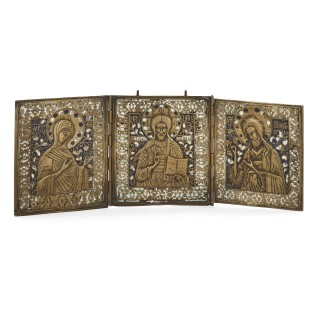 Russian enamel and bronze three-panel folding icon