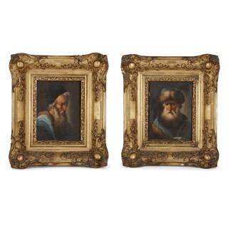 Pair of miniature oil on panel paintings of rabbis