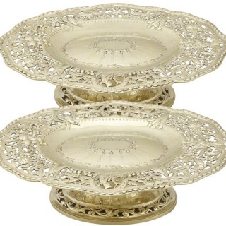 Sterling Silver Gilt Tazzas / Centrepieces - Antique Victorian (1881)