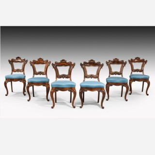 A Set of Six Victorian Mahogany Framed Chairs of Elaborate Form