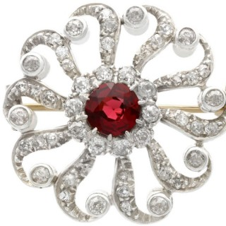 1.47ct Garnet and 1.93ct Diamond, 9ct Yellow Gold Brooch - Antique Victorian Circa 1880