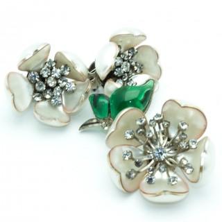 Chanel Gripoix Camelia 60s Earrings & Brooch Set