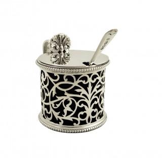 Antique Victorian Sterling Silver Mustard Pot 1889