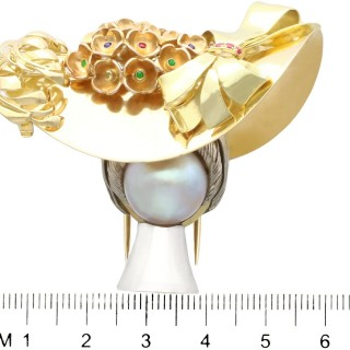 Mabe Pearl, Fancy Yellow Diamond, Ruby, Sapphire and Emerald, 18 ct Yellow Gold Brooch - Vintage Circa 1950