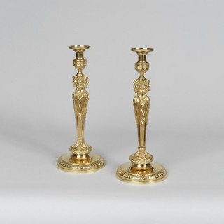 An Important Pair of Louis XVI Style Ormolu Candlesticks In the manner of Pierre Gouthière