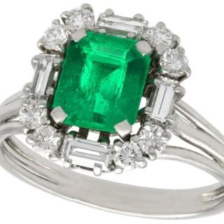 1.43 ct Emerald and 0.68 ct Diamond, Platinum Cluster Ring - Vintage Circa 1970
