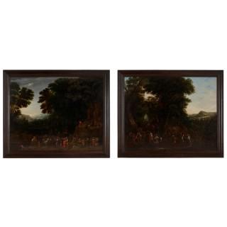 Two oil on panel Old Master landscape paintings by Johannes Jakob Hartmann (Bohemian, 1680-1730)