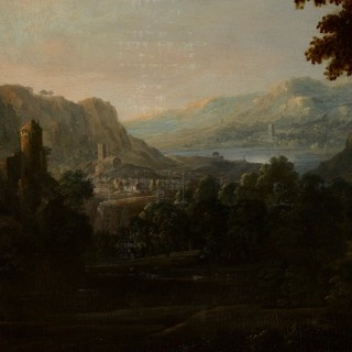 Two oil on panel Old Master landscape paintings by Johannes Jakob Hartmann (Bohemian, 1680-1730)