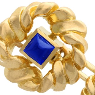0.60ct Sapphire and 18ct Yellow Gold Cufflinks by Van Cleef and Arpels - Vintage French Circa 1960