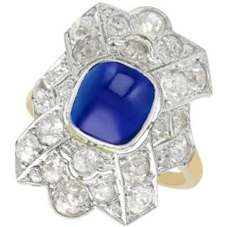 2.02ct Sapphire and 2.78ct Diamond 14ct Yellow Gold Dress Ring - Antique Circa 1930