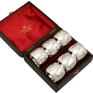 Sterling Silver Napkin Rings Set of Six - Antique Victorian (1896)
