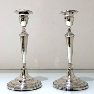 Antique Portuguese Silver Pair Candlesticks Lisbon Circa 1820 Maker I.M