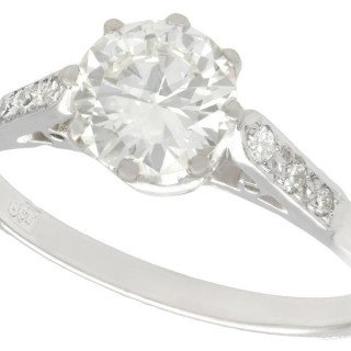 1.12ct Diamond and 18ct White Gold Solitaire Ring - Antique Circa 1920