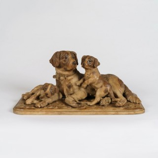 A 'Black Forest' Carved Dog Group