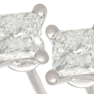 1.07ct Diamond and 18ct White Gold Stud Earrings - Vintage Circa 1990