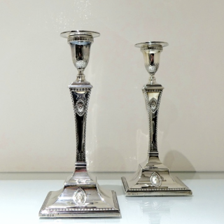 Antique George V Sterling Silver Pair Candlesticks London 1919 Lawrence Alfred Crichton